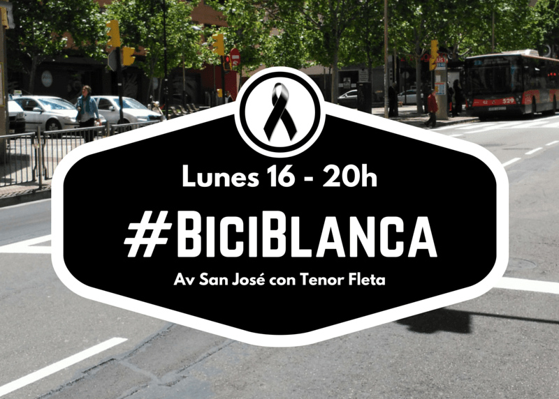 El movimiento ciclista de Zaragoza convoca una 'bici blanca' en recuerdo del ciclista fallecido
