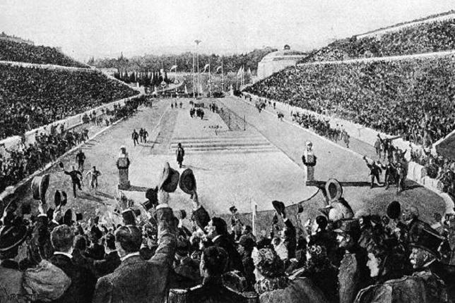 Estadio Panathinaiko (Atenas). Vuelta triunfal de Spiridon Louis, ganador de la maratón en los Juegos Olímpicos de 1896.