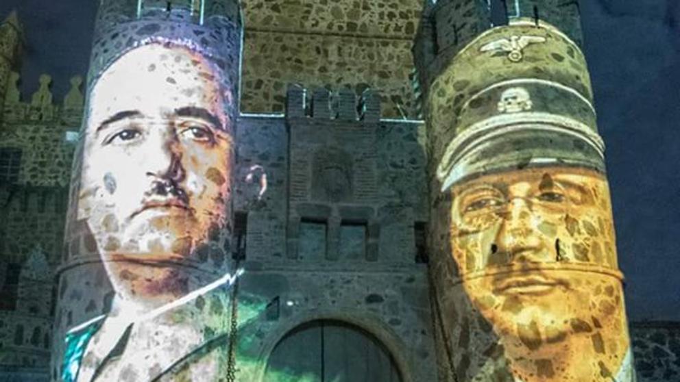 IU denuncia ante la CE la proyección de imágenes de Franco, Hitler y Himmler en la fachada de un castillo en Toledo