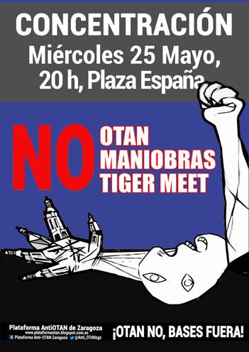 Contra las maniobras 'Tiger Meet' de la OTAN en Zaragoza