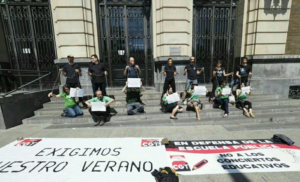 CGT suspende el primer curso escolar del Gobierno PSOE-CHA