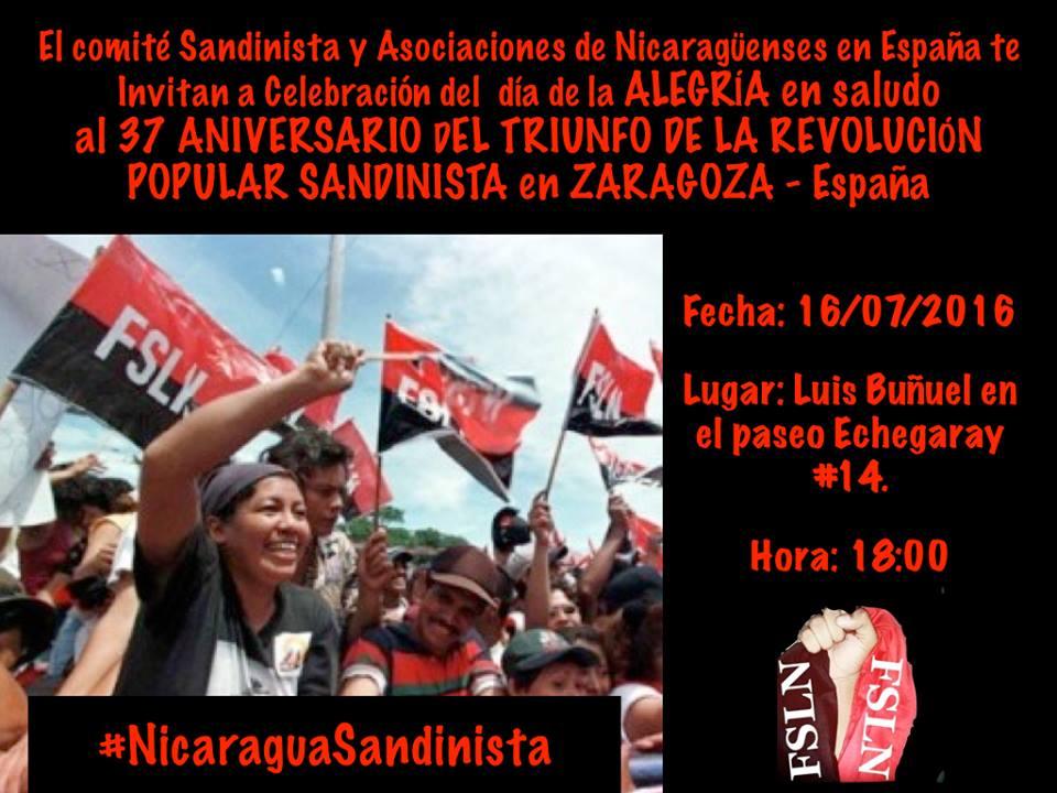 Zaragoza celebra el 37 aniversario de la Revolución Popular Sandinista