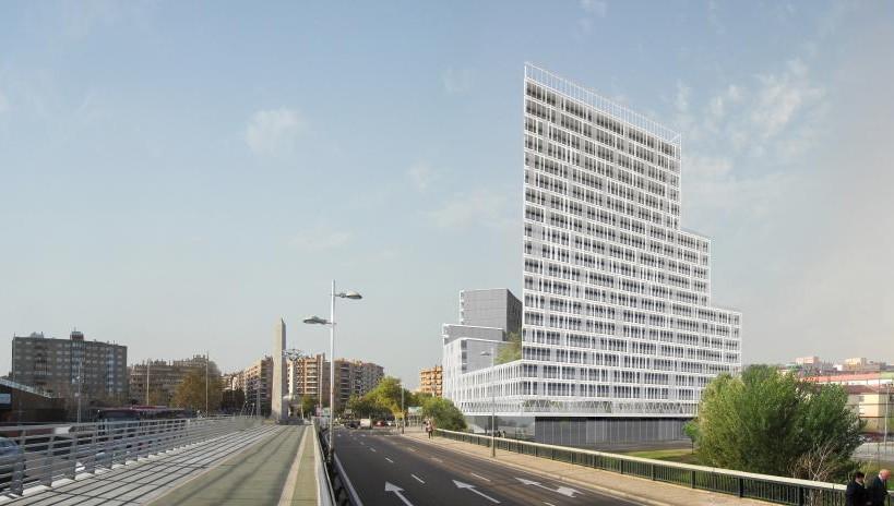 El edificio Skyline 2020, un mastodonte en la ribera del Ebro