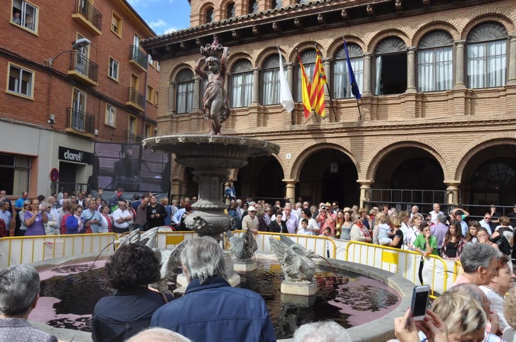 La Fuente de la Mora de Carinyena en la Fiesta de la Vendimia de 2015.