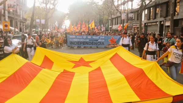 Manifestación de la esquerra independentista en Barcelona. Foto: @COSnacional