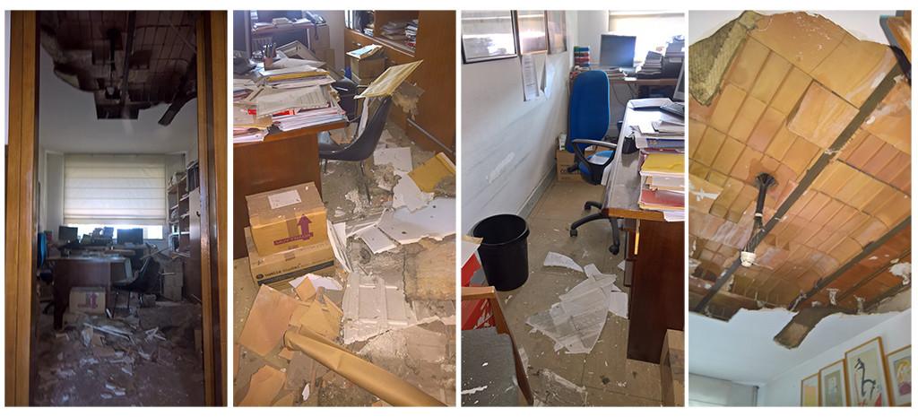 Aspecto del despacho tras el derrumbe.