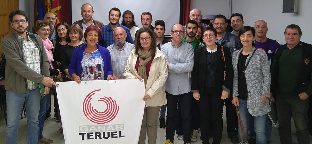 Representantes de Ganar Teruel en la asamblea de este lunes.