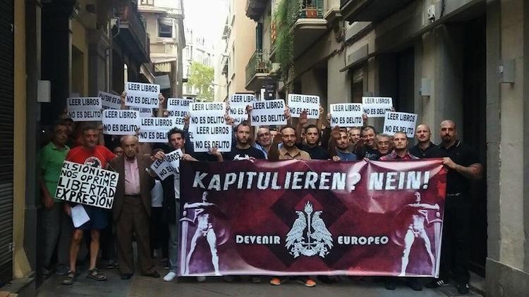 Tercera concentració neonazi a Barcelona de suport a la precintada Llibreria Europa en tres mesos