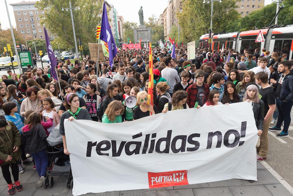 Manifestación en Zaragoza en la huelga educativa de este miércoles. Foto: Pablo Ibáñez (AraInfo)