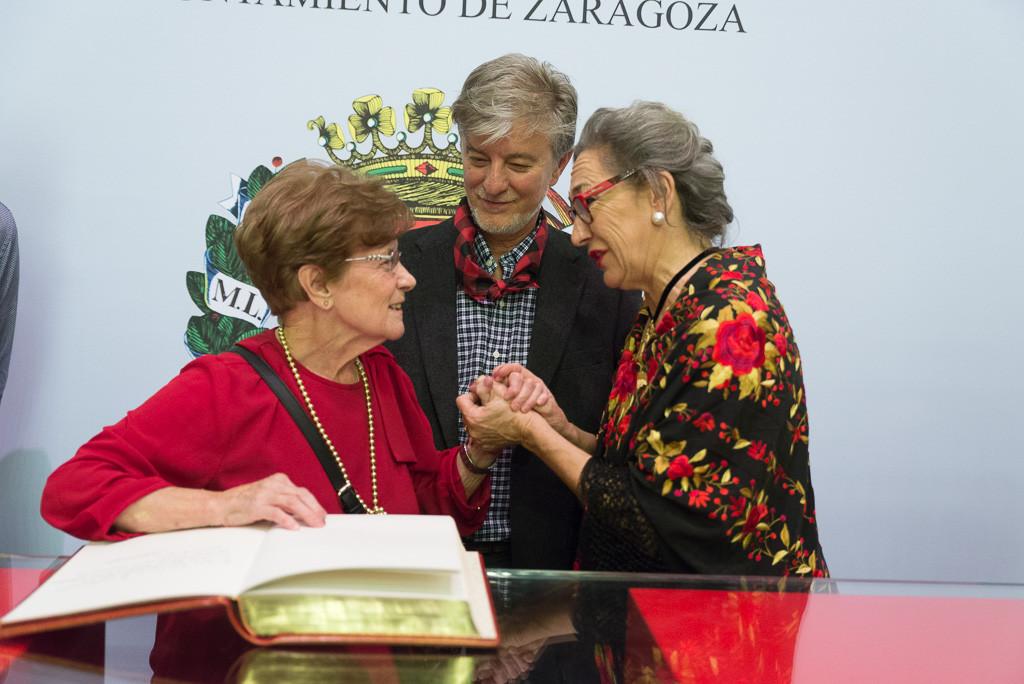 Esperanza Martínez, Pedro Santisteve y Luisa Gavasa. Foto: Pablo Ibáñez (AraInfo)