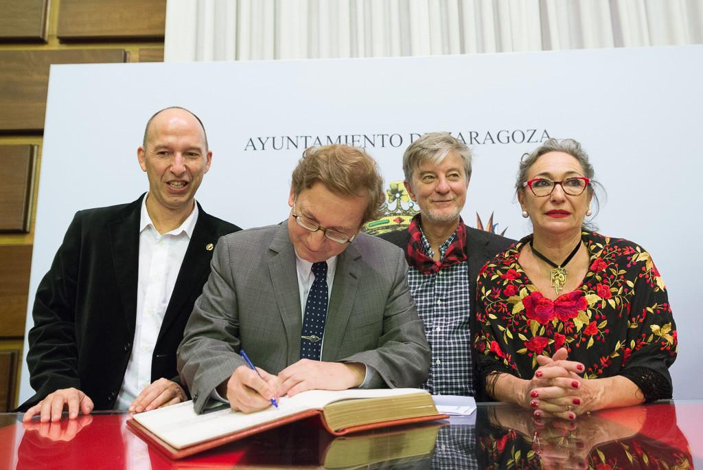 Carmelo Asensio, José Luis Melero, Pedro Santisteve y Luisa Gavasa. Foto: Pablo Ibáñez (AraInfo)