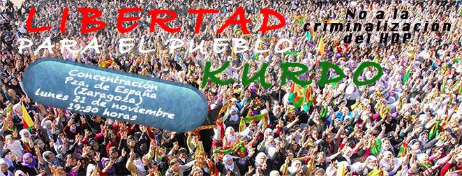 Convocan una concentración en Zaragoza por la libertad del Pueblo kurdo