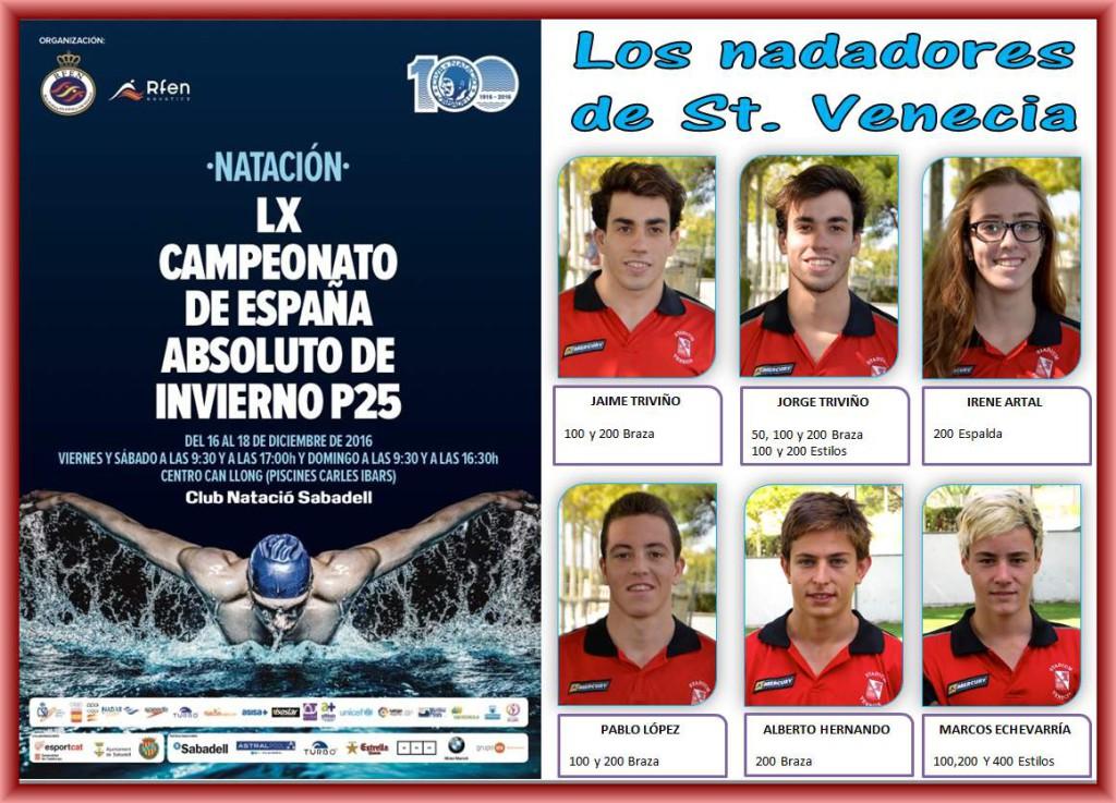 Seis nadadores y nadadoras del Stadium Venecia participarán en el Campeonato estatal de Invierno