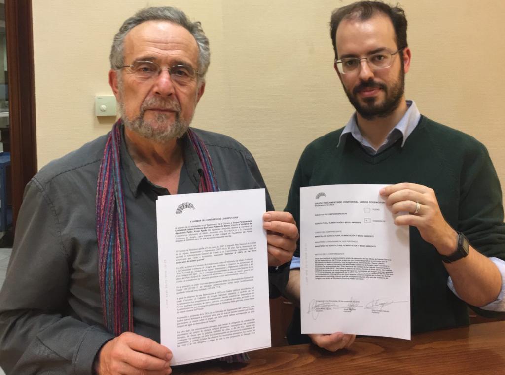 Unidos Podemos en Común pide la comparecencia de la ministra Tejerina por el desvío de fondos del Plan de Calidad de Aguas en Aragón