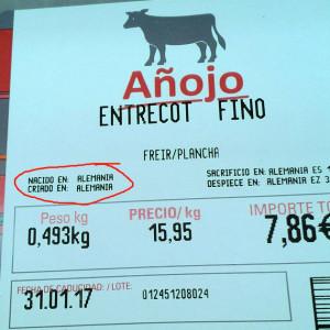 Carne alemana vendida en Eroski.