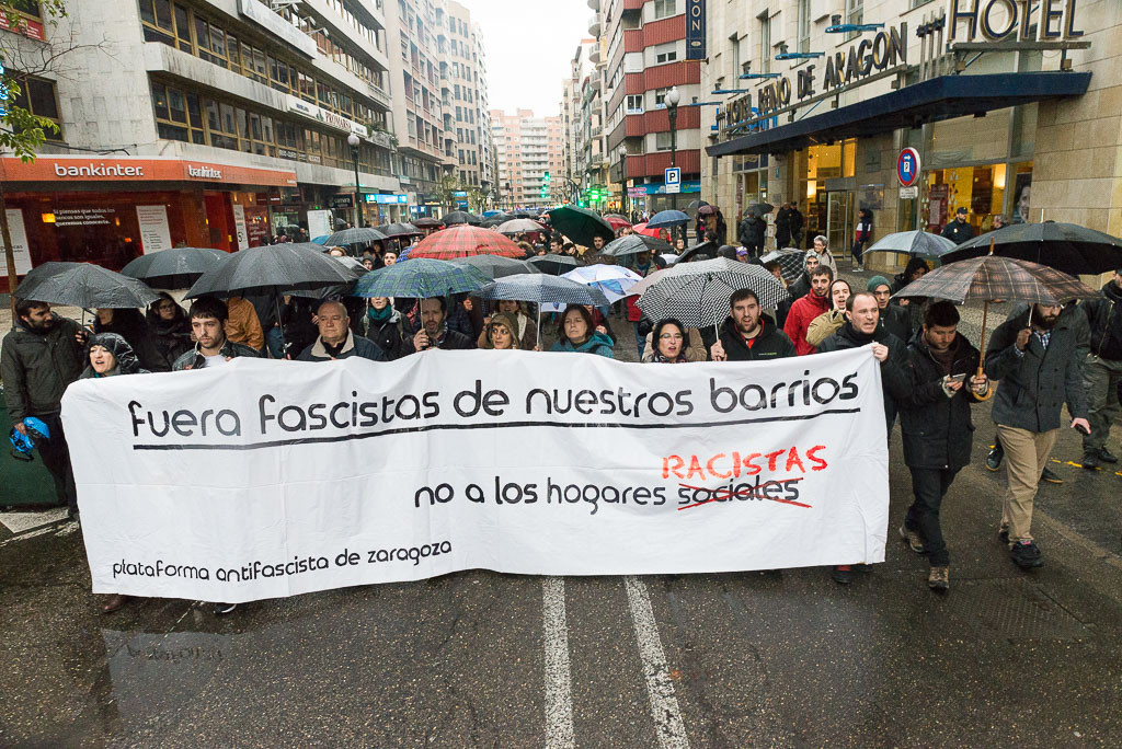 Más de medio millar de personas se manifiestan en Zaragoza contra las jornadas nazis del MSR