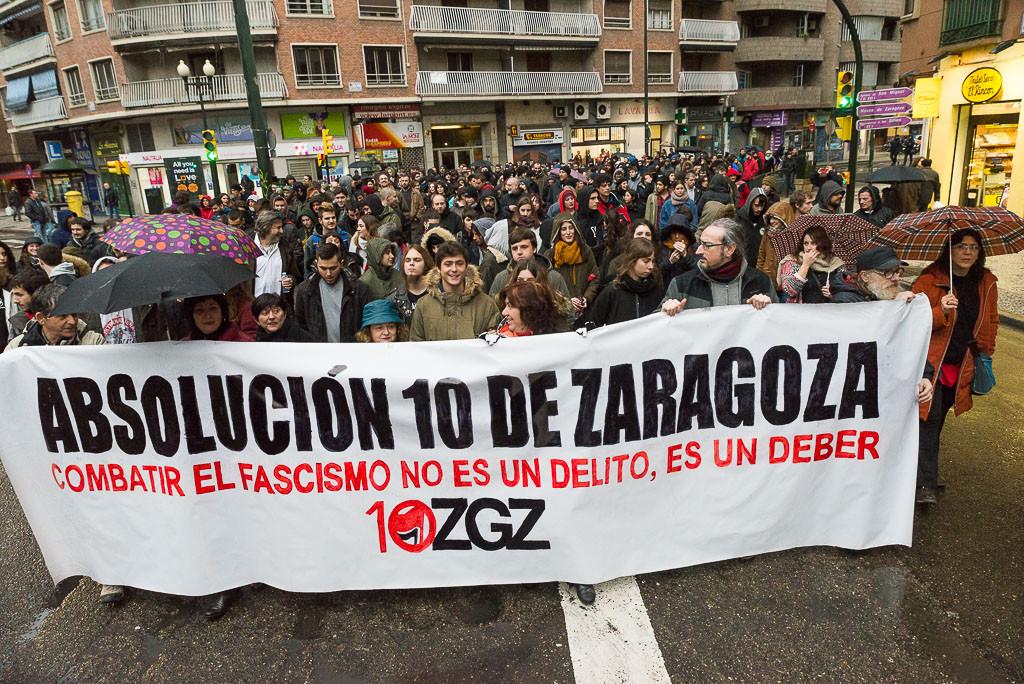 El juicio a los 10 antifascistas de Zaragoza se aplaza al mes de octubre