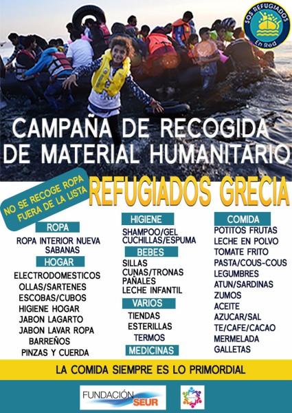 Cartel Ayuda a Refugiados en Zaragoza