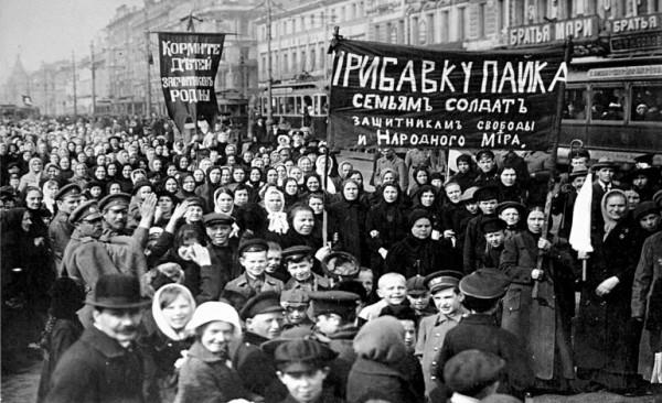 Huelga mujeres rusas por la paz.
