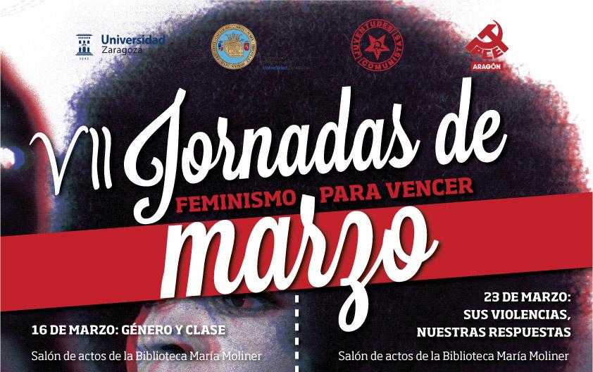 """""""Feminismo para vencer"""", lema de las VII Jornadas de Marzo de la UJCE Aragón"""