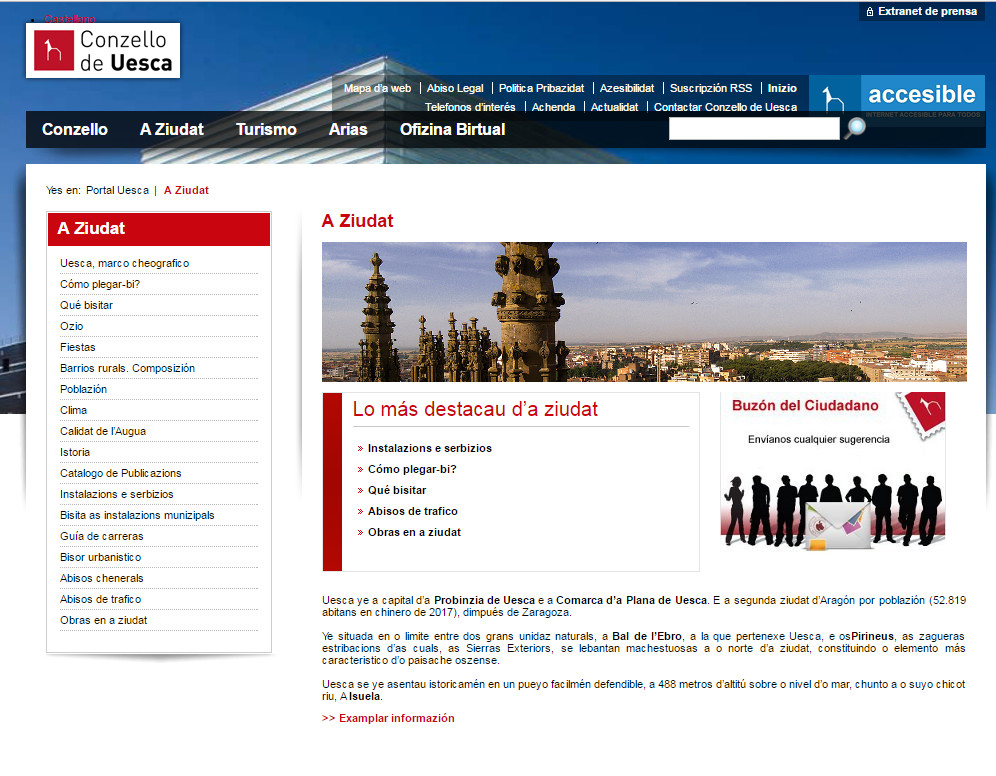 El Ayuntamiento de Uesca activa la versión en aragonés de su web