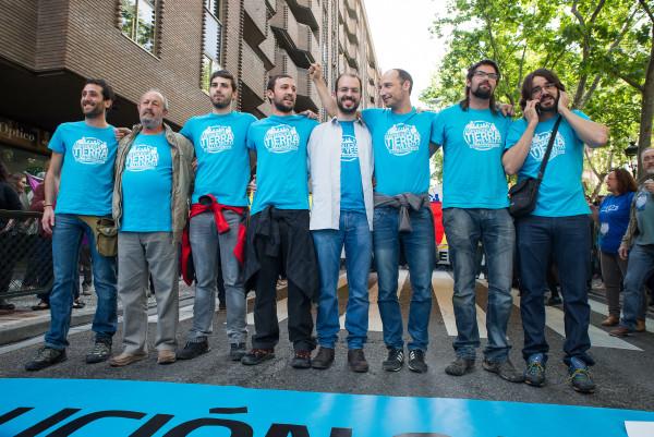 Manifestación por la absolución de los 8 de Yesa en Zaragoza, mayo de 2016. Foto: Pablo Ibáñez (AraInfo)