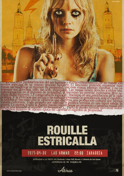 Cartel del concierto en Zaragoza de Estricalla y Rouille.