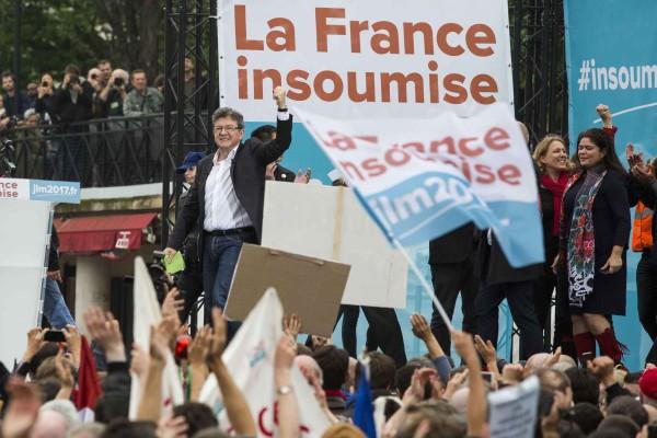 Acto de campaña de Mélenchon. Foto: Lewis Joly