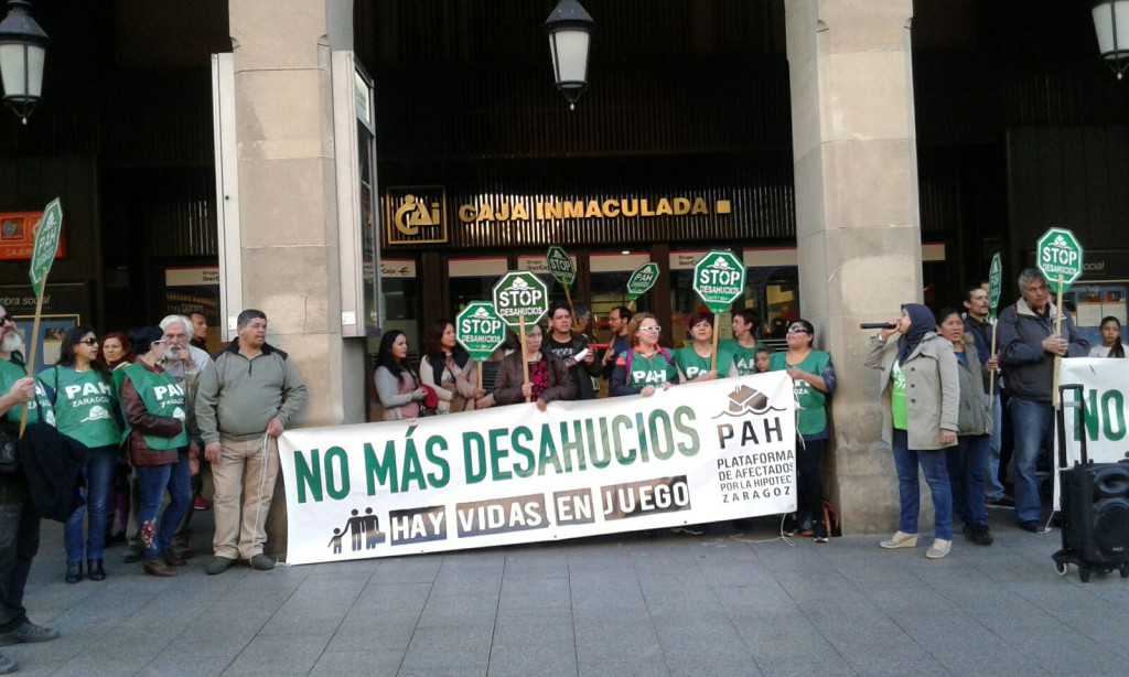 La PAH Zaragoza convoca una concentración de protesta en 'Patio de la Infanta' de Ibercaja