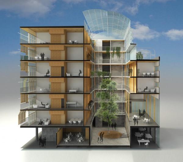 Maqueta del edificio de 28 viviendas en el recinto de Can Batlló.