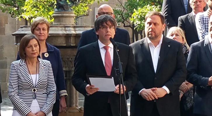 Carles Puigdemont: «El Estado español ha suspendido de facto el autogobierno de Catalunya»