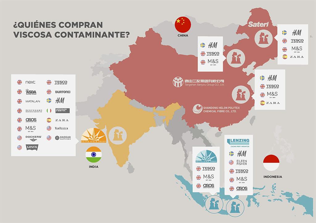 Un informe revela que marcas de ropa como H&M y Zara compran viscosa a fábricas contaminantes