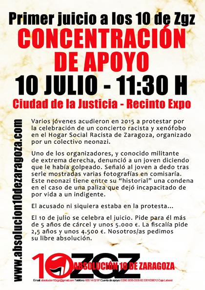 Cartel difundido por el grupo de apoyo a los 10 antifascistas de Zaragoza.