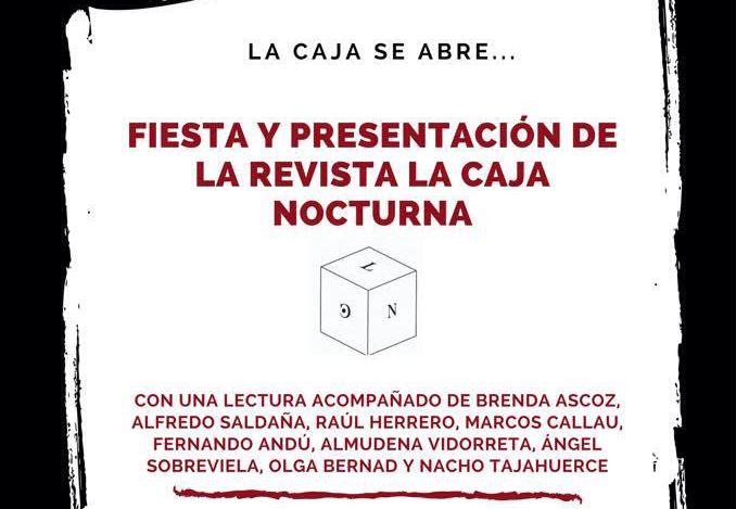 Este miércoles se presenta la Revista Literaria La caja nocturna