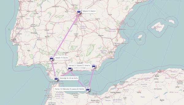 Mapa Caravana Abriendo Fronteras Melilla
