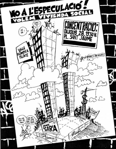 Cartell de la FAVB per reclamar habitatge públic a la Vila Olímpica.