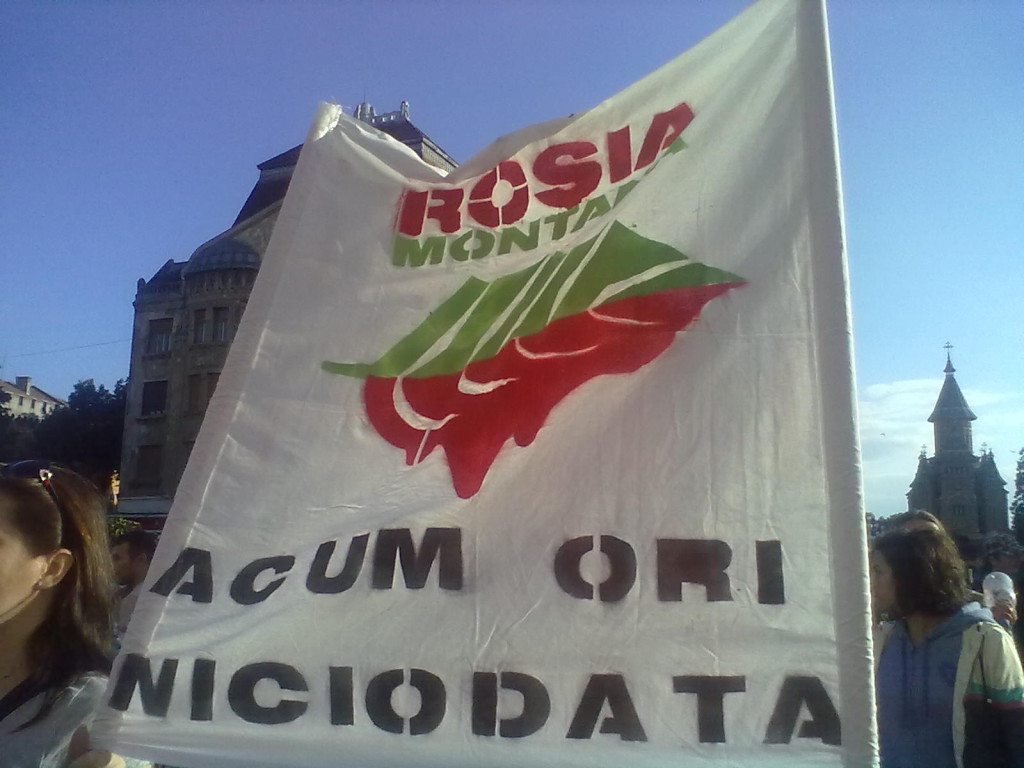 Protestas contra la mina de oro de Rosia Montană.