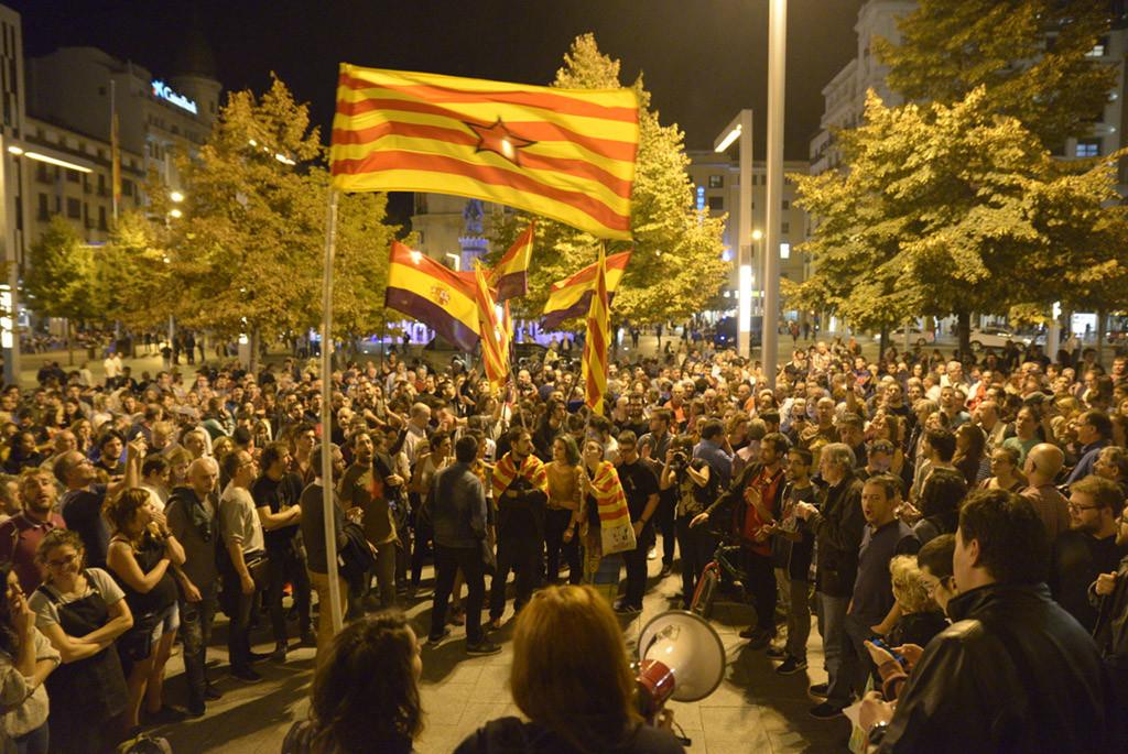 Concentraciones en solidaridad con el Pueblo catalán en Zaragoza, Uesca y Chaca