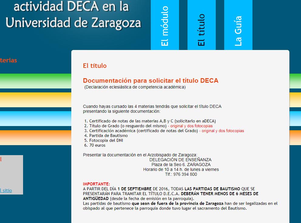 La Universidad de Zaragoza elimina de su web la información sobre la Declaración Eclesiástica de Competencia Académica