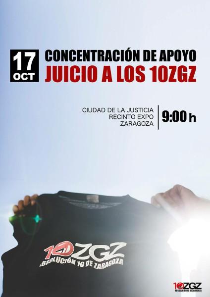 La Asamblea Absolución 10 de Zaragoza convoca este martes, con el comienzo del juicio, una concentración de apoyo.