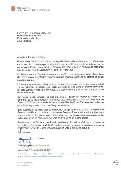 Carta de Puigdemont a Rajoy (19/10/2017).