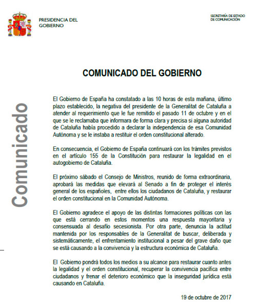 Comunicado del Gobierno español en respuesta a la carta de Puigdemont (19/10/2017)