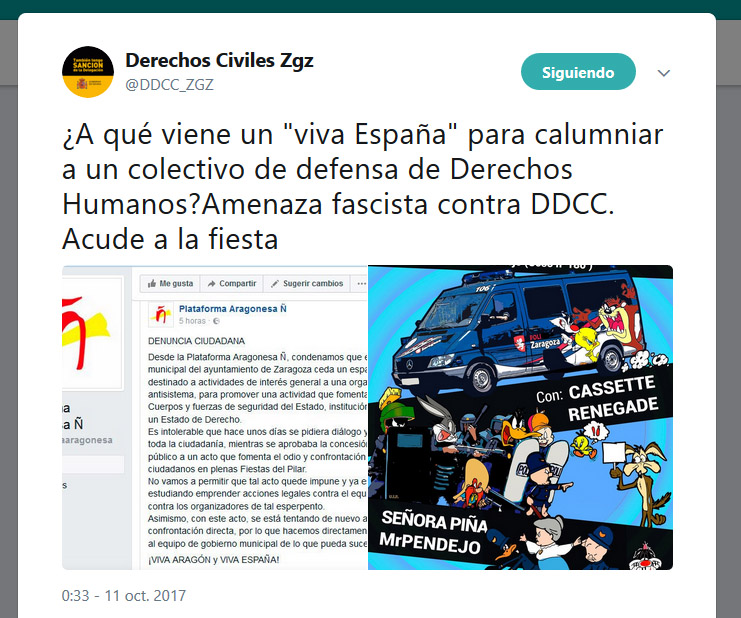Denuncian amenazas ultras contra una fiesta de Derechos Civiles en Zaragoza