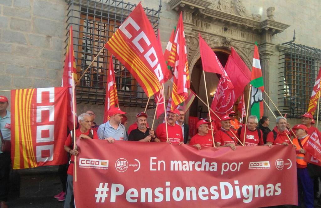 IU se suma a las marchas por unas pensiones dignas que, convocadas por CCOO y UGT, llegan a Aragón