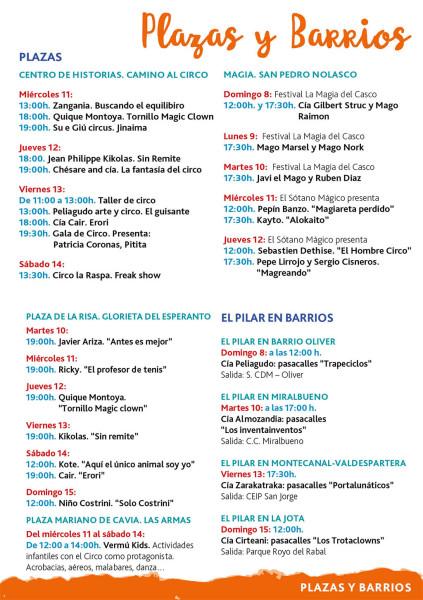 Programación Infantil. Fiestas del Pilar 2017