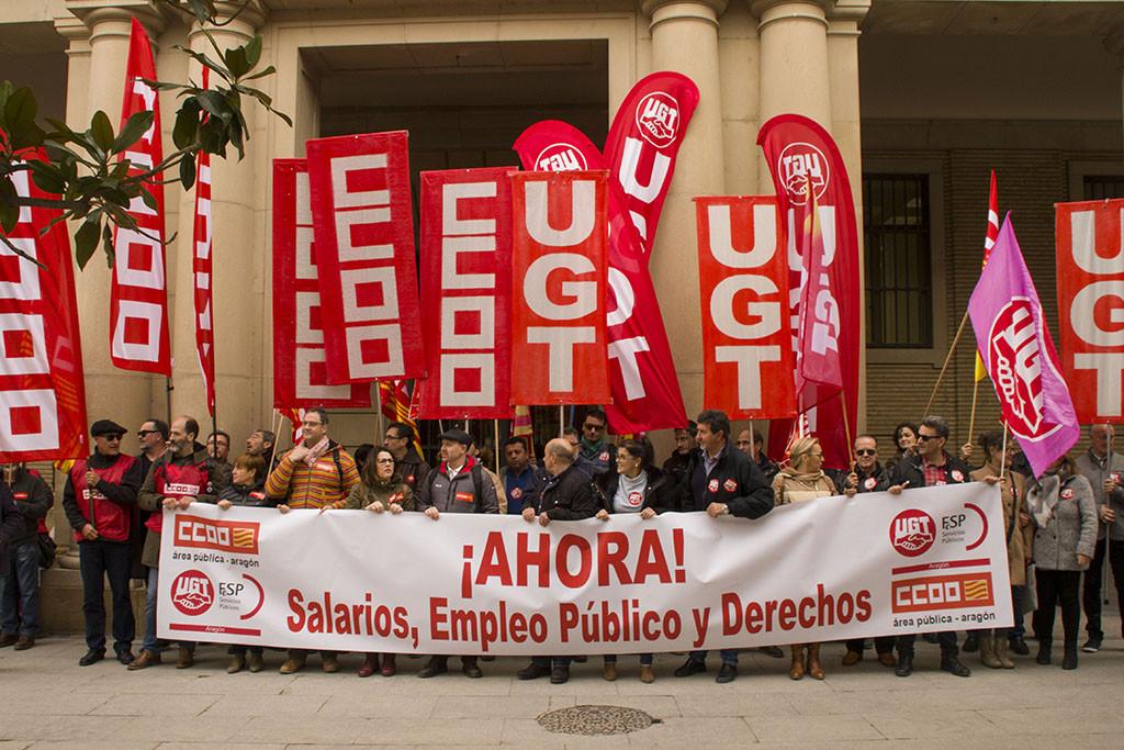 """CCOO y UGT Aragón reclaman """"salarios, empleo público y derechos"""""""