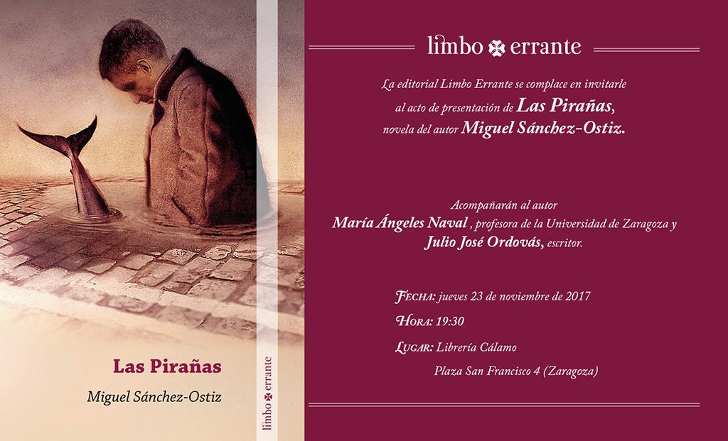 Cálamo acoge la presentación de la novela de Miguel Sánchez-Ostiz, 'Las Pirañas'
