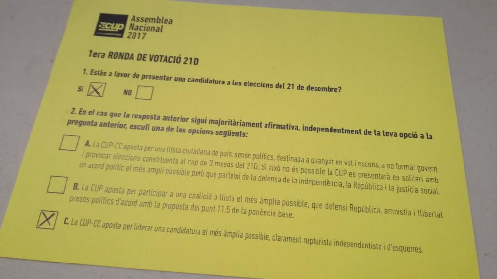 """La CUP decide en asamblea presentarse a las """"ilegítimas"""" elecciones del 21-D"""
