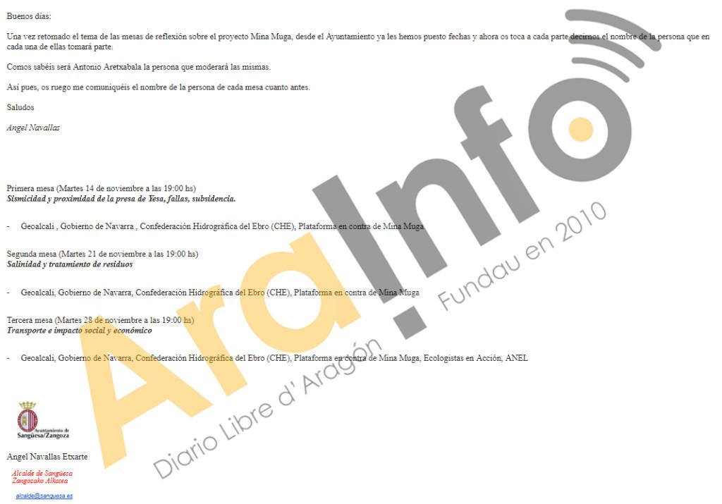 Correo electrónico de Ángel Navallas enviado el pasado 7 de octubre.