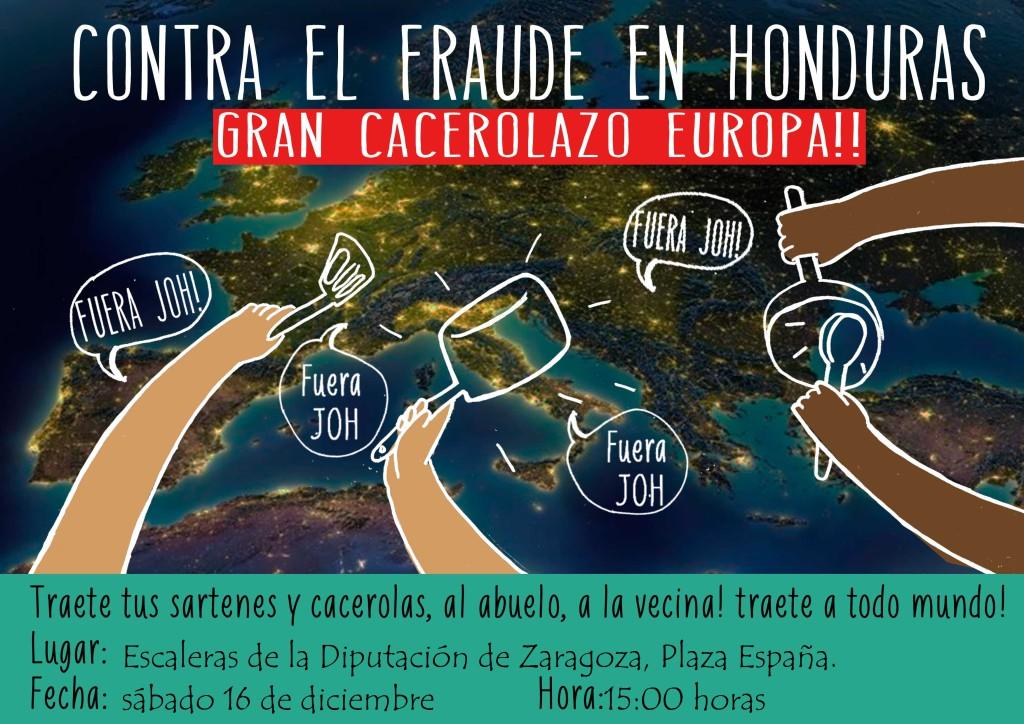 La Comunidad hondureña se manifiesta con una cacerolada en Zaragoza